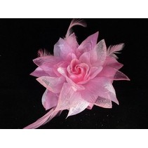 Haarbloem broche licht roze