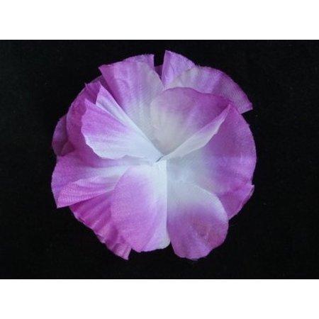 Hawaii bloem op kam Paars/Wit