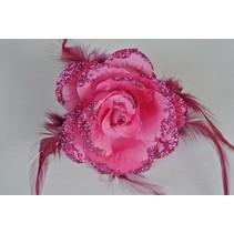 Haarbloem/Broche Roos Roze