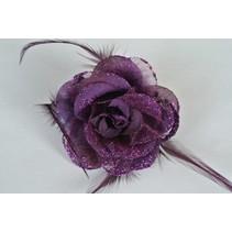 Haarbloem/Broche Roos Paars