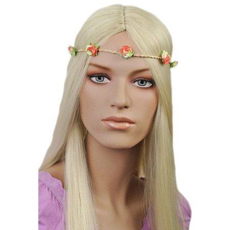 Haarband Roosjes Oranje/Groen
