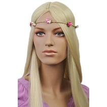 Haarband Roosjes Roze/Wit