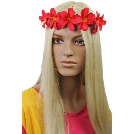 Haarband met bloemen Donker Roze