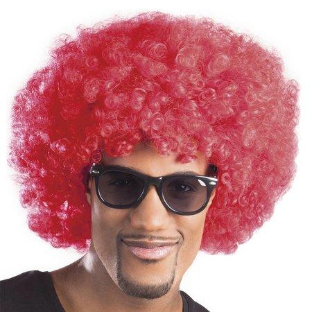 Pruik afro rood