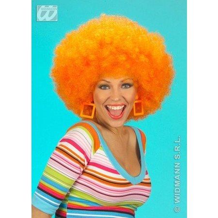 Pruik Afro oranje extra krul elite