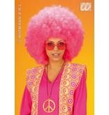 Pruik Afro roze extra krul elite