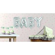 Set zilveren folie ballonnen 'Baby'