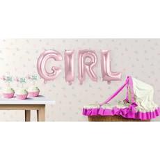 Set baby roze folie ballonnen 'Girl'