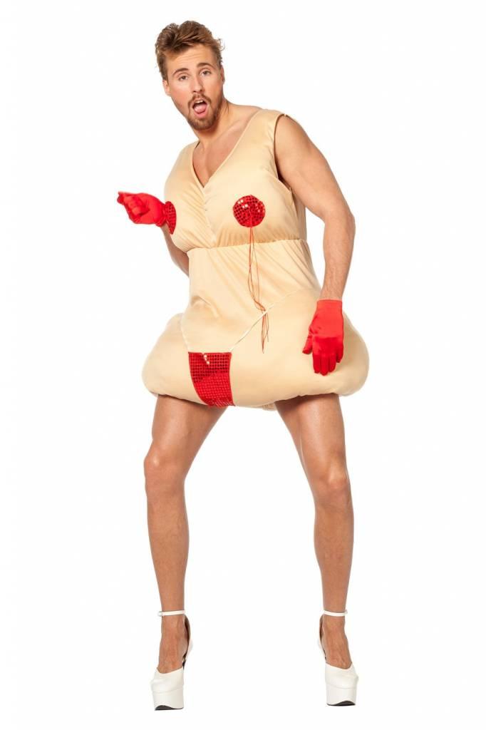 Blote dikke dame kostuum