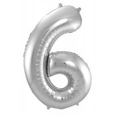 Zilveren Folieballon Cijfer 6 - 86 cm