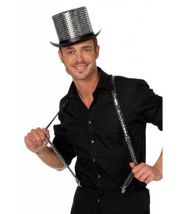 Hoge hoed paillettenstof zilver
