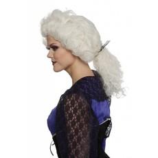 Rococo pruik met staart ecru
