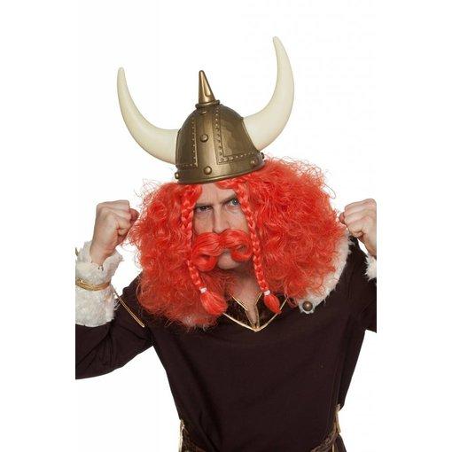 Viking pruik met snor tiziaan