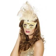 Venetiaanse masker grote veren muzieknoot creme/wit