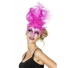 Venetiaanse masker grote veren muzieknoot neon pink