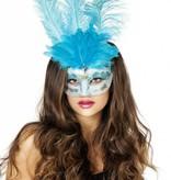 Venetiaanse masker grote veren muzieknoot aqua