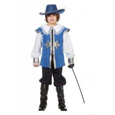 Musketier verkleedpak kind blauw