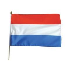 Vlag stof Nederland 30x45 cm op stok