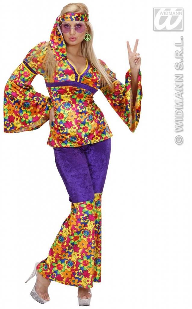 hippie kleding vrouw 3-delig meadow - feestbazaar.nl
