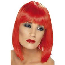 Pruik Glam neon rood