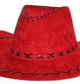 Hoed Cowboy suede rood