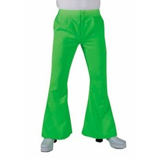 Hippie disco broek fluor groen man
