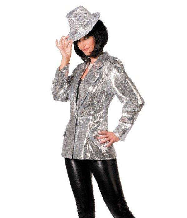 Colbert pailletten luxe dames zilver