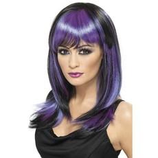 Glamour heksenpruik paars/zwart