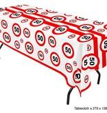 Tafelkleed verkeersbord 50 jaar