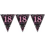 Happy Birthday vlaggenlijn 18 jaar sparkling pink