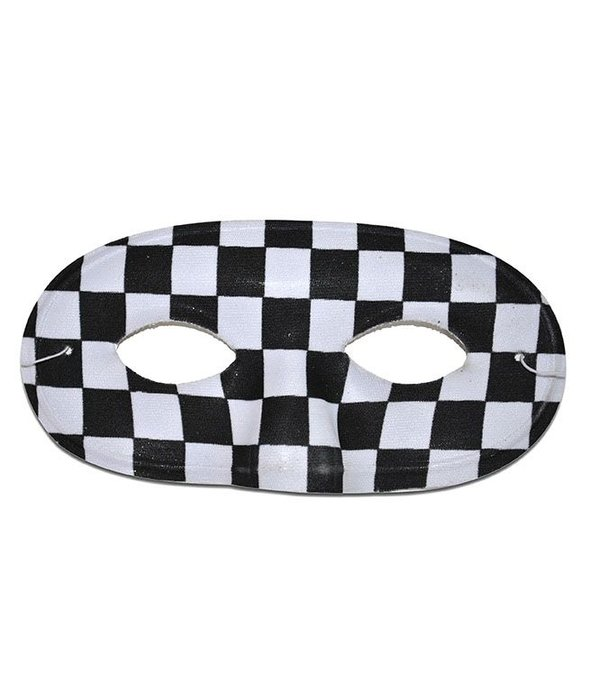 Oogmasker zwart/wit geblokt