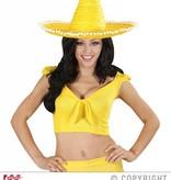 Sombrero geel 50cm met pompons