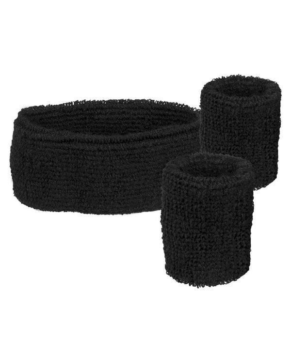 Set 3 zweetbandjes zwart