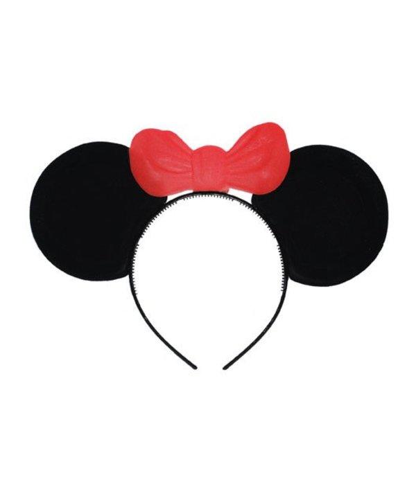 b07d7fae3a5c Mickey mouse oortjes met strik op diadeem - Feestbazaar.nl