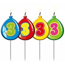 Nummer kaarsje ballon cijfer 3