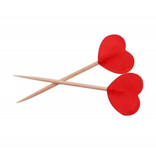 Prikkers rode hartjes - 50 stuks