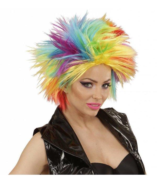 Punk pruik regenboog