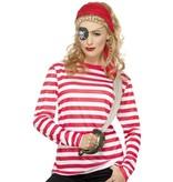 Gestreept T-shirt rood/wit man-vrouw