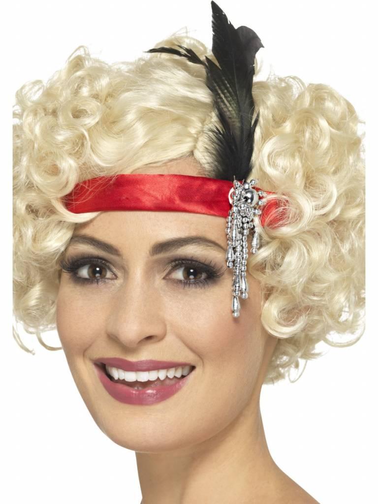 Jaren 20 hoofdband rood met veer en juweel