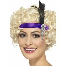 Charleston hoofdband paars met veer en juweel