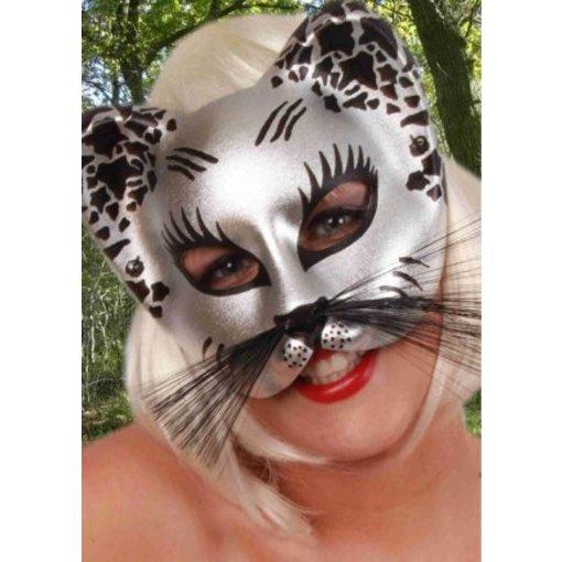 Halfmasker kat zilver/zwart