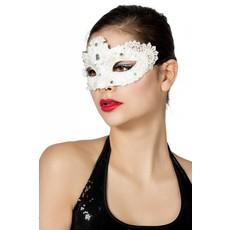 Masker stof met steentjes wit