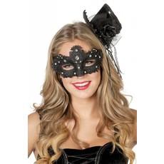 Masker stof met steentjes zwart