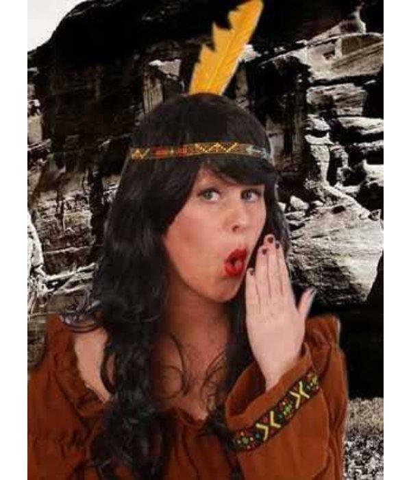Indianen kralen hoofdband + veer