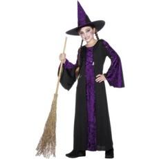 Heksenkleding kind paars/zwart