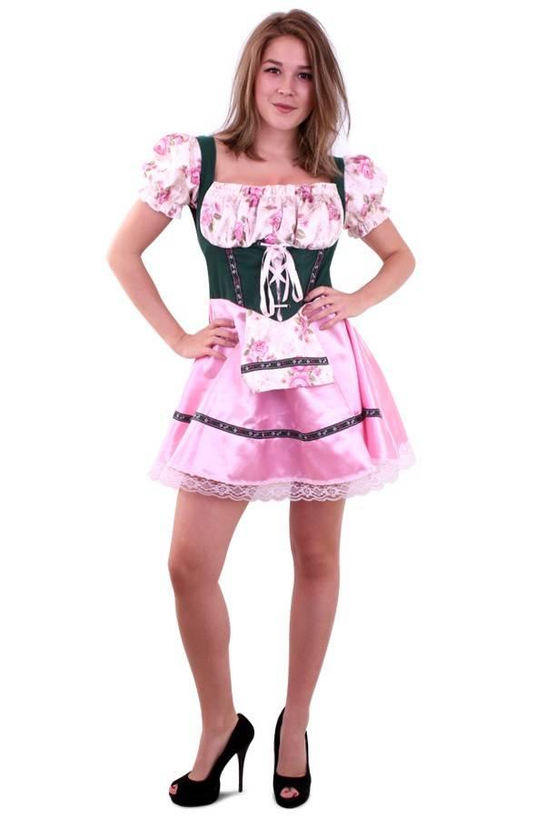 71f2fc8ba9e913 Tiroler jurk roze groen Agnet - Feestbazaar.nl