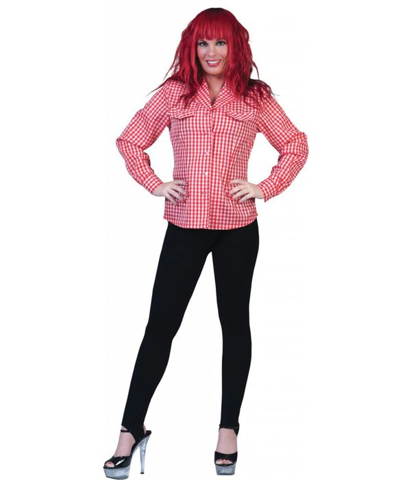 Tiroler blouse dame rood/wit