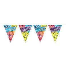 Mini vlaggenlijn blocks Happy Birthday - 3 meter