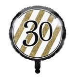 Folieballon '30' Black & Gold (46cm)