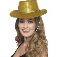 Cowboy glitter hoed plastic goud